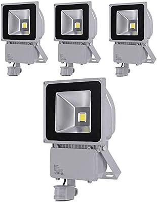 Greenmigo 4pcs Foco Proyector LED 100W Para Exteriores con Sensor ...
