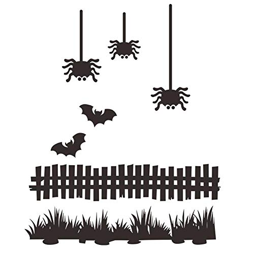 BIBITIME 3 Spiders 2 Bats Fence Grassland Wall Decal Halloween Vinyl Sticker Home Art PVC Murals for Living Room Nursery Bedroom Children Kids Room Decor (Black, DIY 15.4