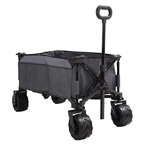 PatioGuarder Folding Collapsible Wagon Cart, All Terrain Utility Wagon, Heavy Duty Outdoor Garden Beach Wagon - Perfect Use for Camping, Shopping, Picnic, Beach, Sports, Grey