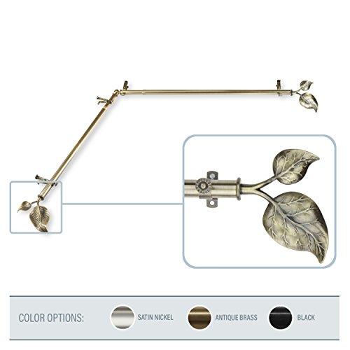 A&F Rod Decor - Leaf Corner Window Curtain Rod 28-48 inch (each side) - Antique Brass -