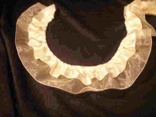 (Gathered Ivory Organza Satin Lace Like Trim Fabric 2