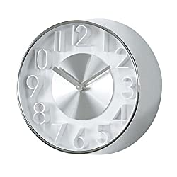 Time Concept 8 Round Sophisticated Wall Clock - Silver - Metal Steel Frame, Analog Time Display, Home Décor