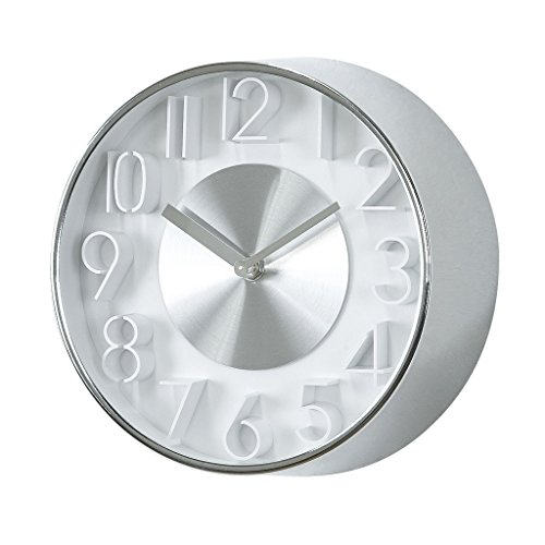 Time Concept 8 Round Sophisticated Wall Clock – Silver – Metal Steel Frame, Analog Time Display, Home D cor