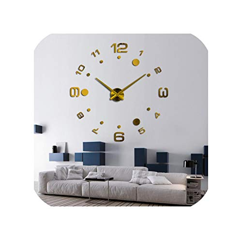 Wenzi-day Fashion DIY 3D Wall Clock Design Clocks Stickers Large Decorative Mounted House Clock On The Wall,Gold,47 inch