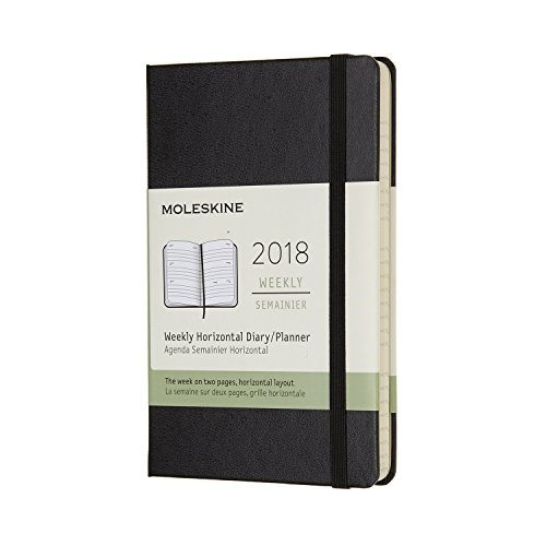 Moleskine 12 Month Weekly Horizontal Planner, Pocket, Black, Hard Cover (3.5 x 5.5)