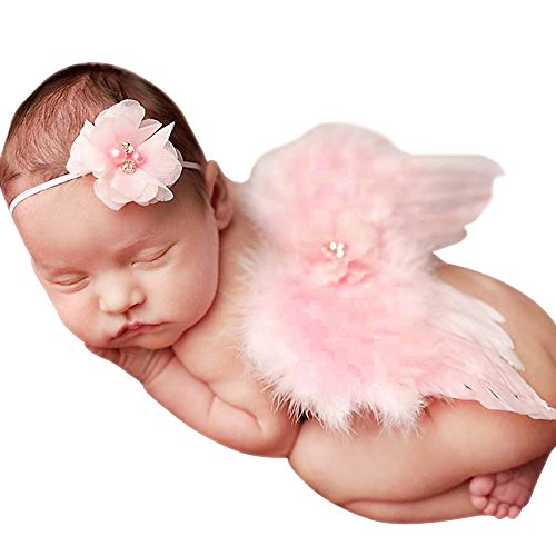 [Little Mouse Baby Angel Feather Butterfly Wings Photo Prop Girls Hair Accessories (pink set 1)] (Newborn Angel Wings)