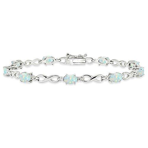 Oval Opal Bracelets (Sterling Silver Simulated White Opal Oval Polished Infinity Classic Tennis Bracelet)