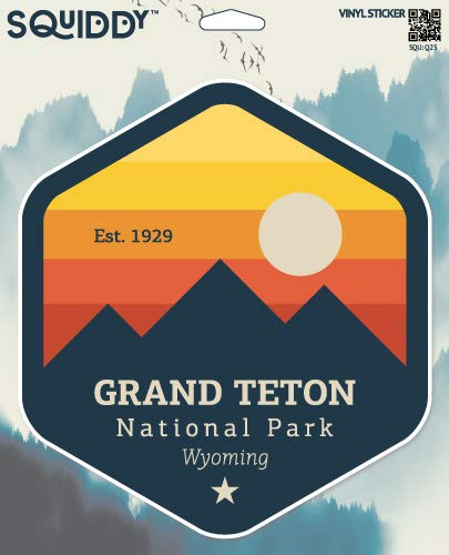 Squiddy Grand Teton National Park Wyoming - Vinyl Sticker Decal for Phone, Laptop, Water Bottle (3