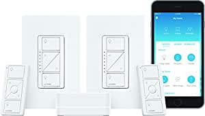 Lutron Caseta Wireless Smart Lighting Dimmer Switch (2 count) Starter Kit, P-BDG-PKG2W-A, Works with Amazon Alexa