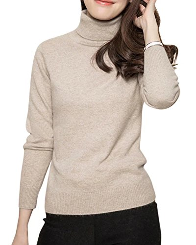 DAIMIDY Women's Turtleneck Cashmere Sweaters Winter Solid Cashmere Sweater Khaki, Tag XL = US (10-12)