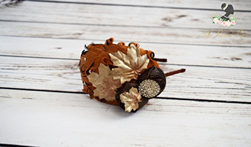 Handcrafted Gold Fall Leaf 1920s Headband - Adult Feather Headband - Orange and Brown Headband - Autumn Accessory - Fall Wedding -Maple Leaf