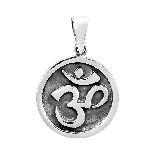 AeraVida Round Stand Out Aum or Om Prayer Sign .925 Sterling Silver Pendant