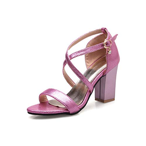 Summer Fashion Sexy Thick high Heels Party Shoes Cover Heel Cross-Strap pu Leather Women Sandals,Pink,12