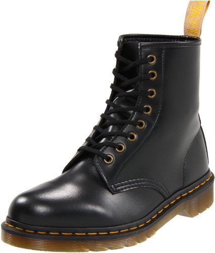 Dr. Martens Vegan 1460 Smooth Black Combat Boot,  Fleix Rub, 7 UK/US Men's 8 Women's 9 D US -