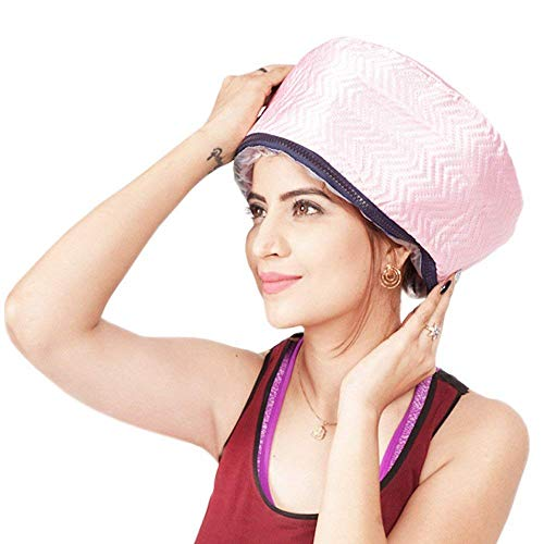 QERINKLE Hair Care Thermal Head Hair Spa Cap Treatment with Beauty Steamer Nourishing Heating (PINK)