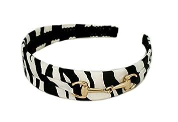 2d46b580efd Mia U-Shaped Fashion Headband Black And White Silk Zebra Animal Print With  Gold Horse