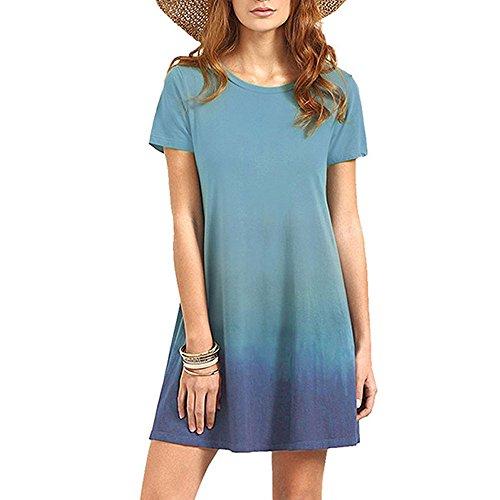 WOCACHI Damen Sommer Kleider Mode Frauen Reizvolles Sommer-Kurzschluss  Hülsen O-Ansatz Steigung Farben Casual Kleid Partei Minikleid Grün (L/36,  ...