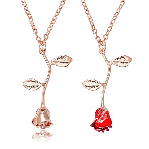 - choice of all 3D Rose Flower Pendant Necklace,Charm Gold Silver Personalized Red Rose Statement Necklace for Women Girls (H:Rose Gold Set)