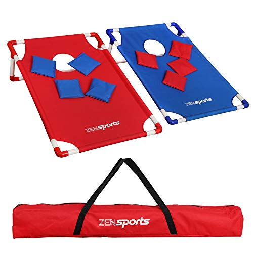 ZENsports Portable 3'x2' PVC Framed Cornhole Game Set with 8 Bean Bags and 2 Cornhole Boards Outdoor Beach Party Games,Travel Carrying Case Included