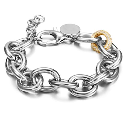 CIUNOFOR CZ Bracelet for Women Girls Wide Cuban Curb Link Bracelet Italian Style Oval Bracelet Silver Rose Gold Plated Adjustable Stainless Steel Chain with Round Disc Charm (White and Gold) ()