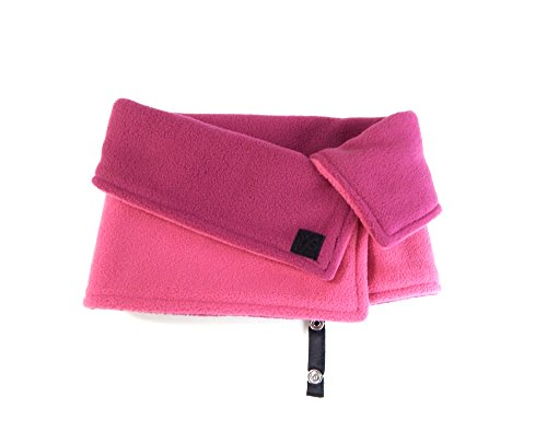 Kids Reversible Fleece Face/Neck Warmer Pink/Fuchsia with Jacket Strap by Toasty Ladybug by Toasty Ladybug