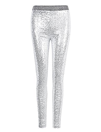 Fancy Pants Glitter - Withchic Silver Sequin Sparkle Leggings Shiny Bling Tights Glitter Pants M