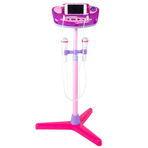Kid's Karaoke Machine,Haoun Children Karaoke Disco Singing Toy,2 Microphones Adjustable Stand,Connect to Phones MP3 Players,Christmas Birthday Gift for Girl Boy - Pink