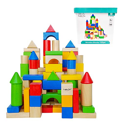 (Cubbie Lee Premium Wooden Building Blocks Set - 100 pc for Toddlers Preschool Age - Classic Hardwood Plain & Colored Small Wood Block Pieces for Boys & Girls - Classic Build & Play Toy)