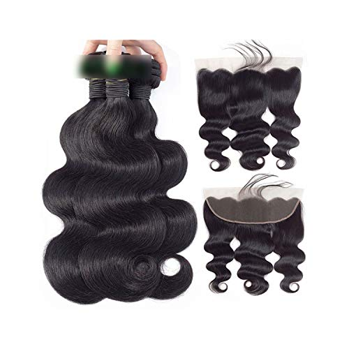 Brazilian Wave Hair Weave 3 Bundles With Lace Frontal Closure Non Remy Natural Color Extensions,12 12 14 & Closure10,Three Part]()