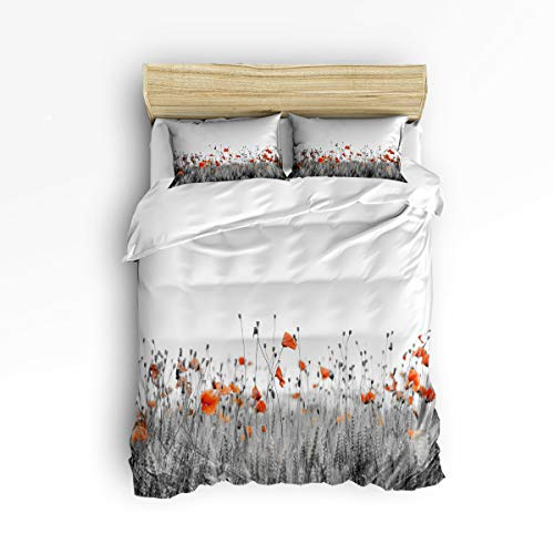 3 Piece Polyester Fabric Bedding Set with Zipper Closure Queen Size, Poppy Fresh Flower Black White Comforter Cover Set Duvet Cover with 2 Pillow Shams for Girls/Boys/Kids/Children/Teen/Adults