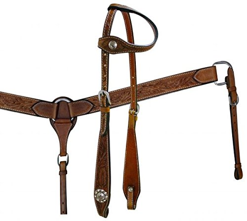 Showman Tooled Leather Horse Bridle, Split Reins, and Breast Collar Set (Breast Collar Tooled)
