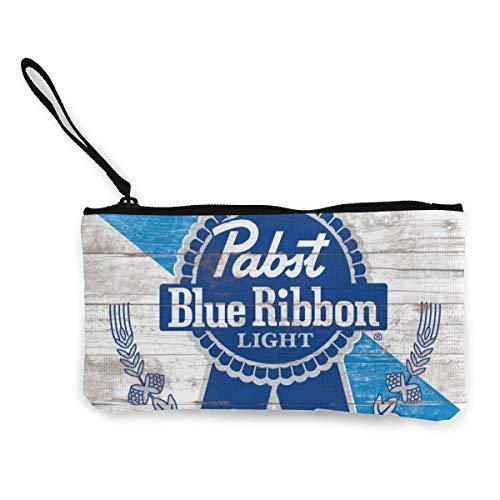 Pa-bst Blue Ri-bbon Canvas Cash Coin Purse Zipper Pouch Phone Pouch And Woman Make Up Bag