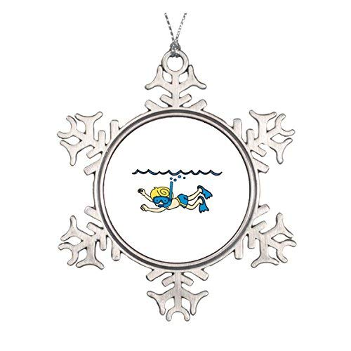 LilithCroft99 Snorkeler Underwater Pewter Snowflake Christmas Ornaments,Christmas Tree Decorations Ornaments,Keepsake,Novelty