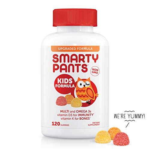 - SmartyPants Kids Formula Daily Gummy Vitamins: Gluten Free, Multivitamin & Omega 3 Fish Oil (DHA/EPA), Methyl B12, Vitamin D3, Vitamin B6, 120 Count (30 Day Supply) - Packaging May Vary