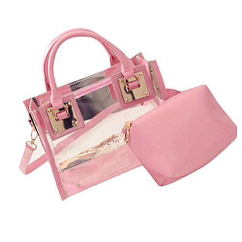 Hunpta Transparent Jelly Bag Handbag Pink Women Messeng Fashion Bag Beach Candy Shoulder HqEHfwxr