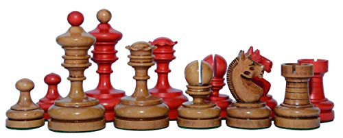 (Staunton Castle Inc Reproduction Vintage 1930 German Knubbel Chess Set in Distressed/Red Coloured)