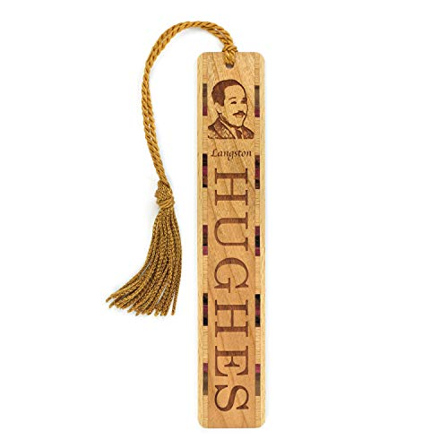 Langston Hughes Portrait with Name Engraved Wooden Bookmark with Tassel