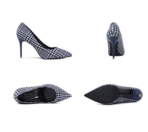 Dream Vintage Striped Female High Heels Sexy Stiletto Heel Sandals Summer Fashion Shallow Mouth Pointed-Toe Shoes (Color : Blue, Size : 37)