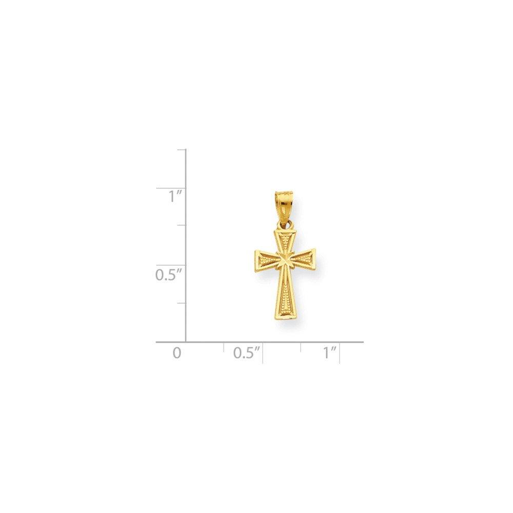 10K Yellow Gold Themed Jewelry Pendants /& Charms Solid 11 mm 25 mm Diamond-Cut Cross Pendant