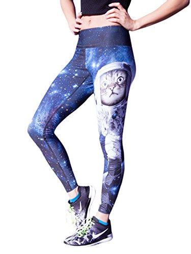 SiYang YoGa Space Cat 3D Printing Fashion Fitness Pants Yoga Sports Trousers High Stretch Fast Dry Pants For Women(Pants,M)