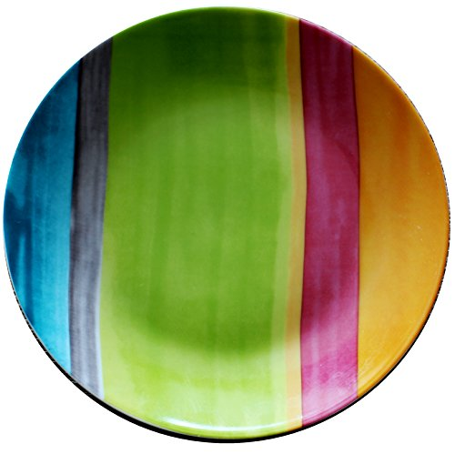 Leadex Porcelain 8-Inch Salad Plate/Dessert Plate,Set Of 4, Best For Home Decor Or Gift Item (colorful rainbow) ()