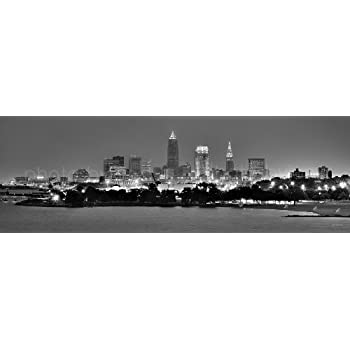 Cleveland skyline photo print unframed night black white bw city downtown 11 75 inches x 36