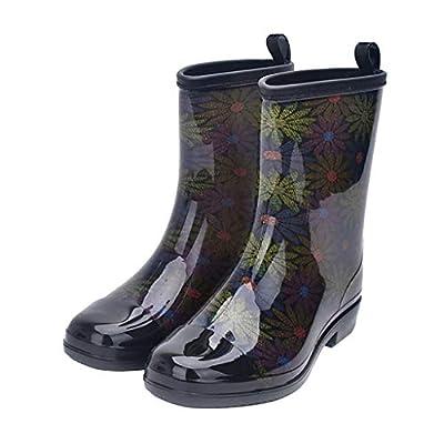 Jiu du Women's Block Heel Waterproof Rain Boots and Garden Round Toe Fashion Rain Shoes   Rain Footwear