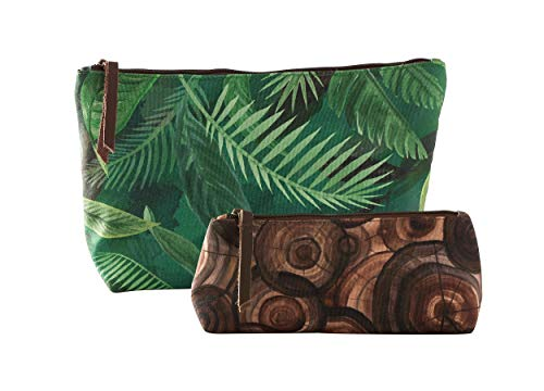 (Studio M Elements Earth-Rain Forest Zippered Canvas Cosmetics Pouch Set, Lined Travel Makeup Bag or Toiletries Organizer, Pencil Case, Cute Trendy, 2 Pieces - 12 and 9)
