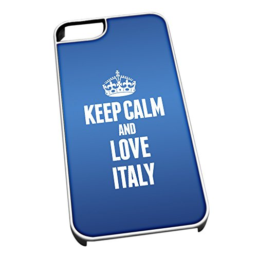 Bianco cover per iPhone 5/5S, blu 2213 Keep Calm and Love Italia