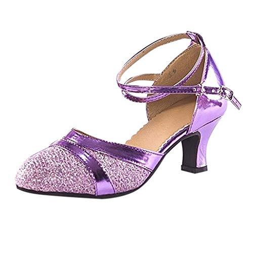 Mi Dance De Chaussures Bal Latin Tango Pour Talon Mode Paillettes Sandales Zahuihuim Social Salsa Salle Femmes Doux Danse Purple HvwFABq