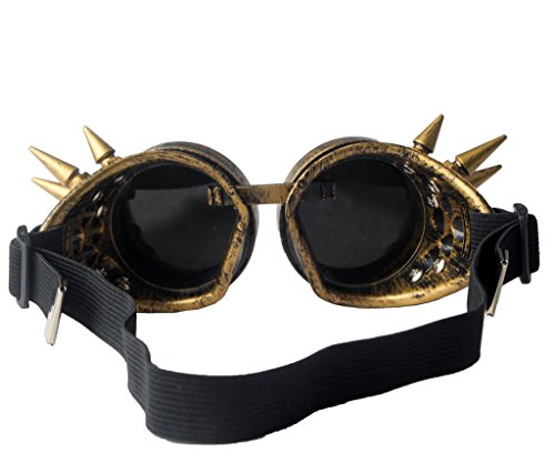 FUT ABS Spiked Steampunk Goggles Glasses Cosplay Costume Props (Brass) by FUT (Image #3)