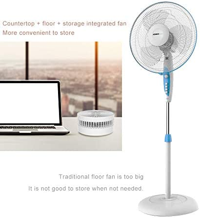 Height Adjustable Desk Fan-Folding and Portable Floor Fan-4 Speed Mini USB Fan-Rechargeable Camping Fan Use for Home Outdoor and Office,Black