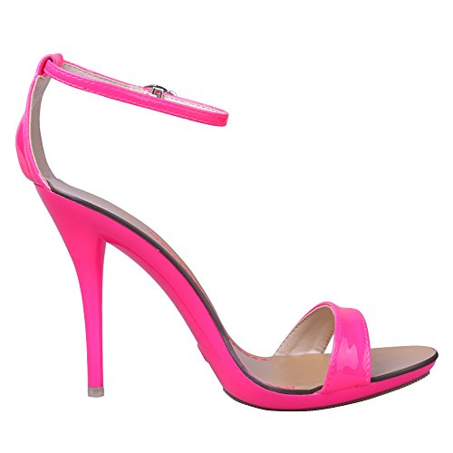 Open Stiletto Dancing Toe Pink Women's Classic Strap Heel Ankle High Sandals awXn5BxCqE