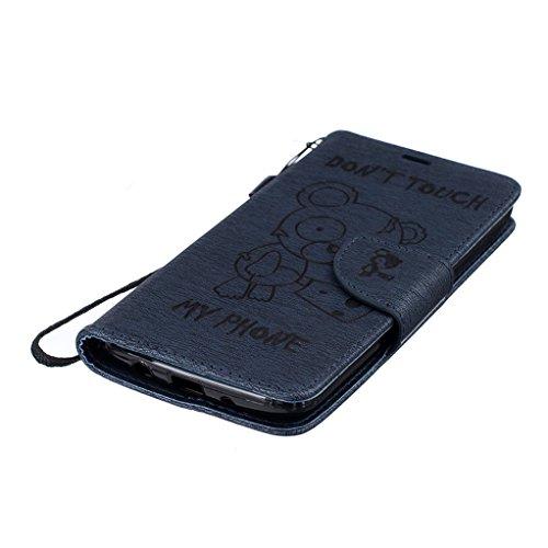 Trumpshop Smartphone Carcasa Funda Protección para LG K8 (2017) + Dont Touch My Phone (Bebe oso) Púrpura + PU Cuero Caja Protector Billetera [No es compatible con LG K8] Negro